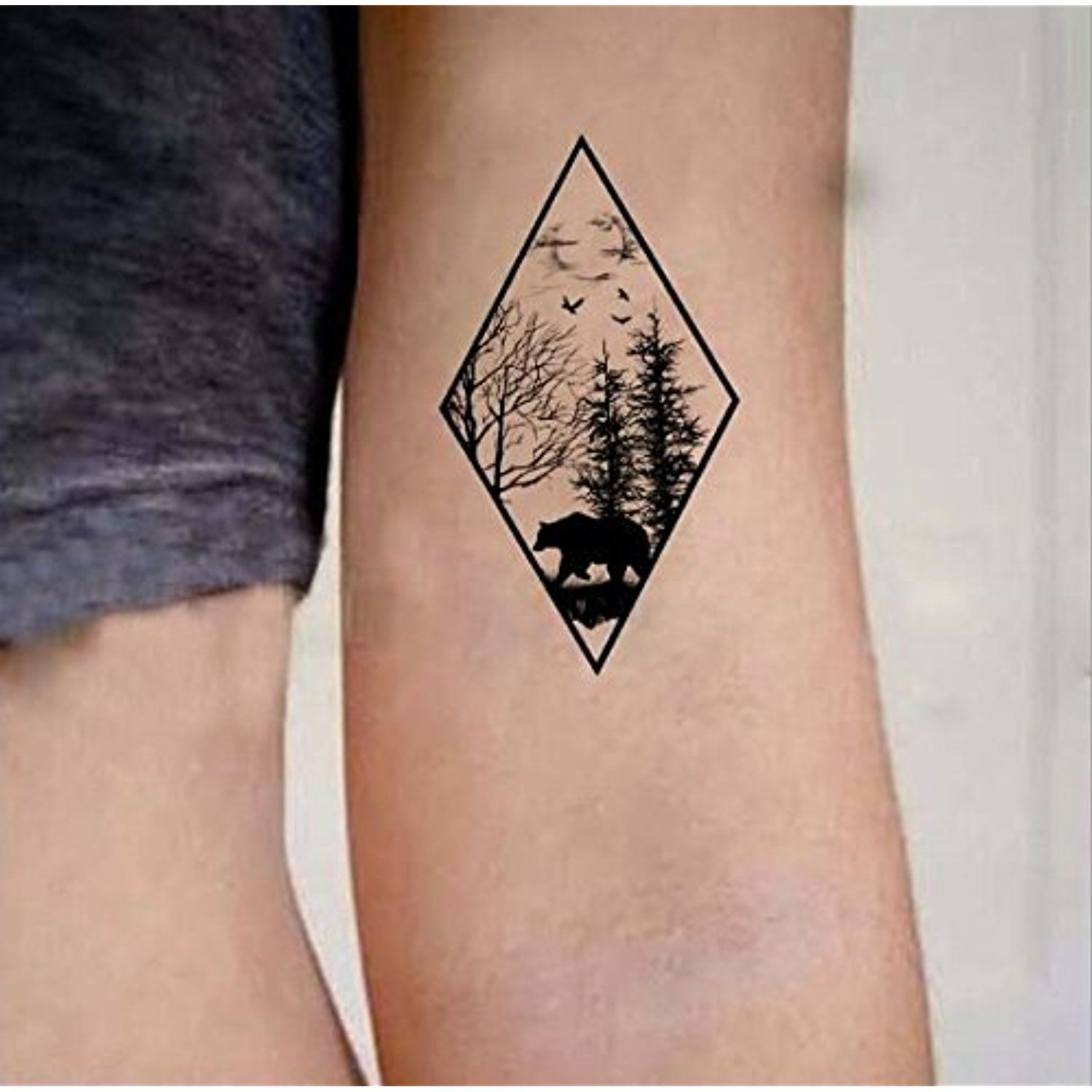 e88393f14 Set of 2 Waterproof Temporary Fake Tattoo Stickers Vintage Geometric Black  Forest Bear Tree *** See this great product. (This is an affiliate link) # Makeup