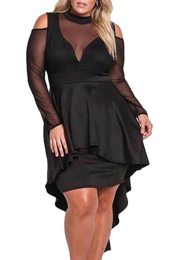 Black Plus Size Mesh Trim Hi Low Long Sleeve Peplum Dress Style