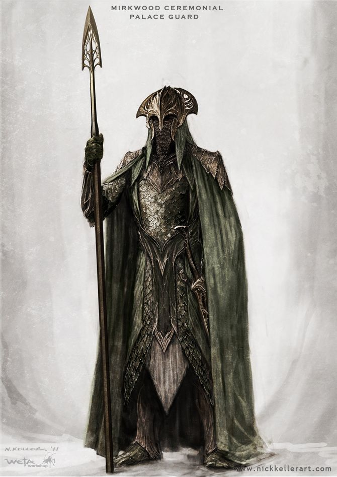 Mirkwood Ceremonial Palace Guard- The Hobbit, part II - Concept design as seen in The Hobbit: The Desolation of Smaug, Chronicles: Art & Design and Smaug: Unleashing the Dragon - The Art of Nick Keller
