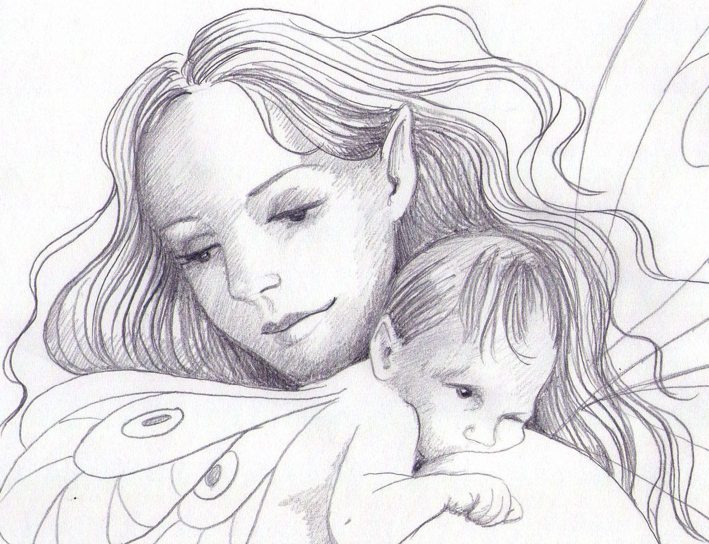 Mother And Daughter Fairy Original Pencil By