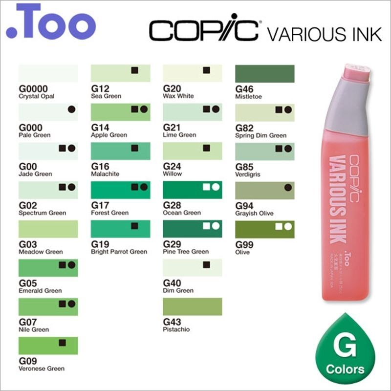 """Copic Various Ink /""""BG Color Series/""""Refill for Too Sketch and Ciao Blue Green"""