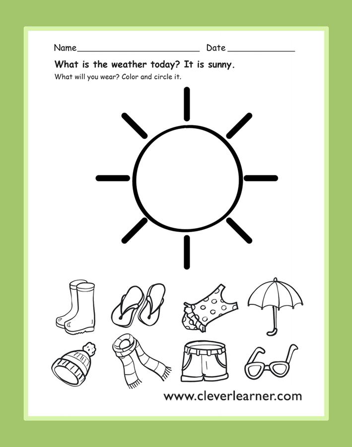 The weather today is sunny! preschoolweatheractivity