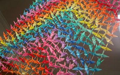 rainbow origami cranes!