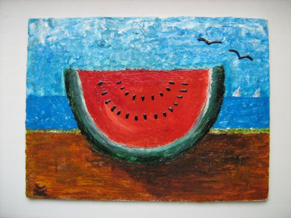 OOAK canvas art picture Day on a beach by HandyHappy on Etsy, $30.00