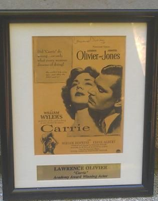 "Lawrence Olivier Signed Poster for movie ""Carrie"""