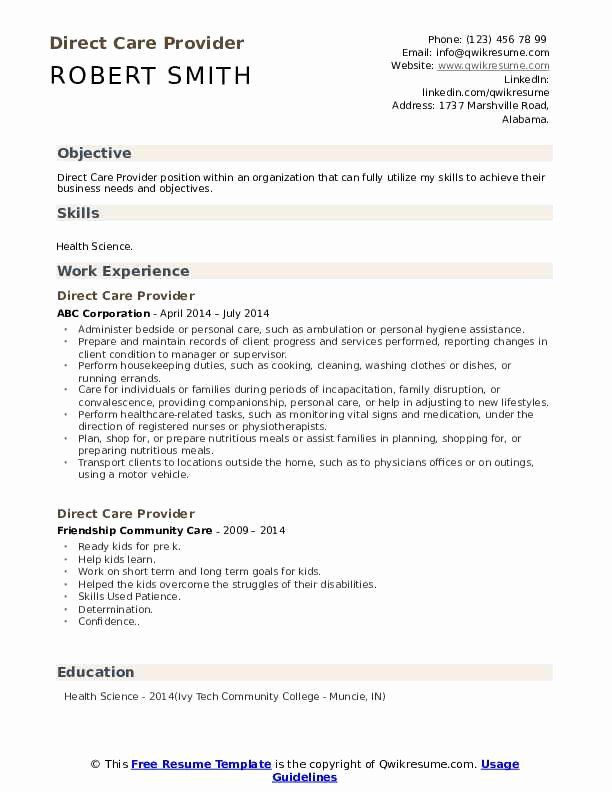 Direct Care Worker Resume Beautiful Direct Care Provider Resume Samples In 2020 Medical Assistant Resume Care Worker Resume