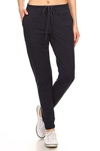 8c81ff9d413014 Leggings Depot Women s Classic Comfort and Soft French Terry Drawstring  Twill Jogger Cotton Pants (Small