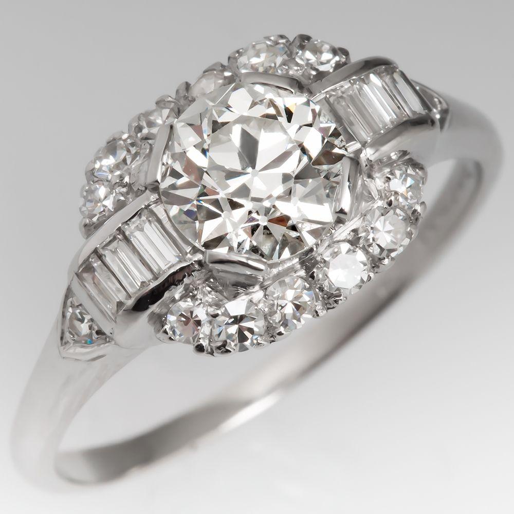 Art deco engagement ring carat old euro diamond platinum this