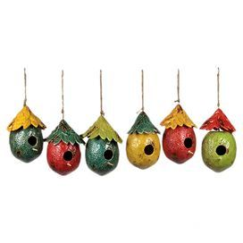 """Invite feathered residents to your garden or backyard with this charming ceramic birdhouse, featuring a lemon-inspired silhouette and weathered finish.   Product: Set of 6 birdhousesConstruction Material: Ceramic and twineColor: Teal, red, yellow, and greenFeatures: Hanging twine includedDimensions: 10"""" H x 6"""" W x 7.5"""" D each"""