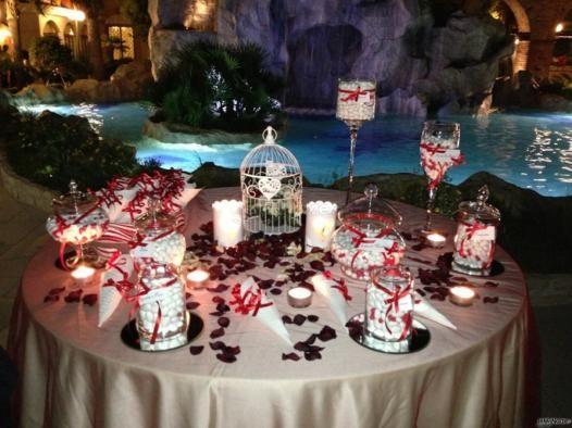 Il tavolo della confettata sui toni del rosso idee per matrimoni in rosso confetti - Il tavolo della roulette ...