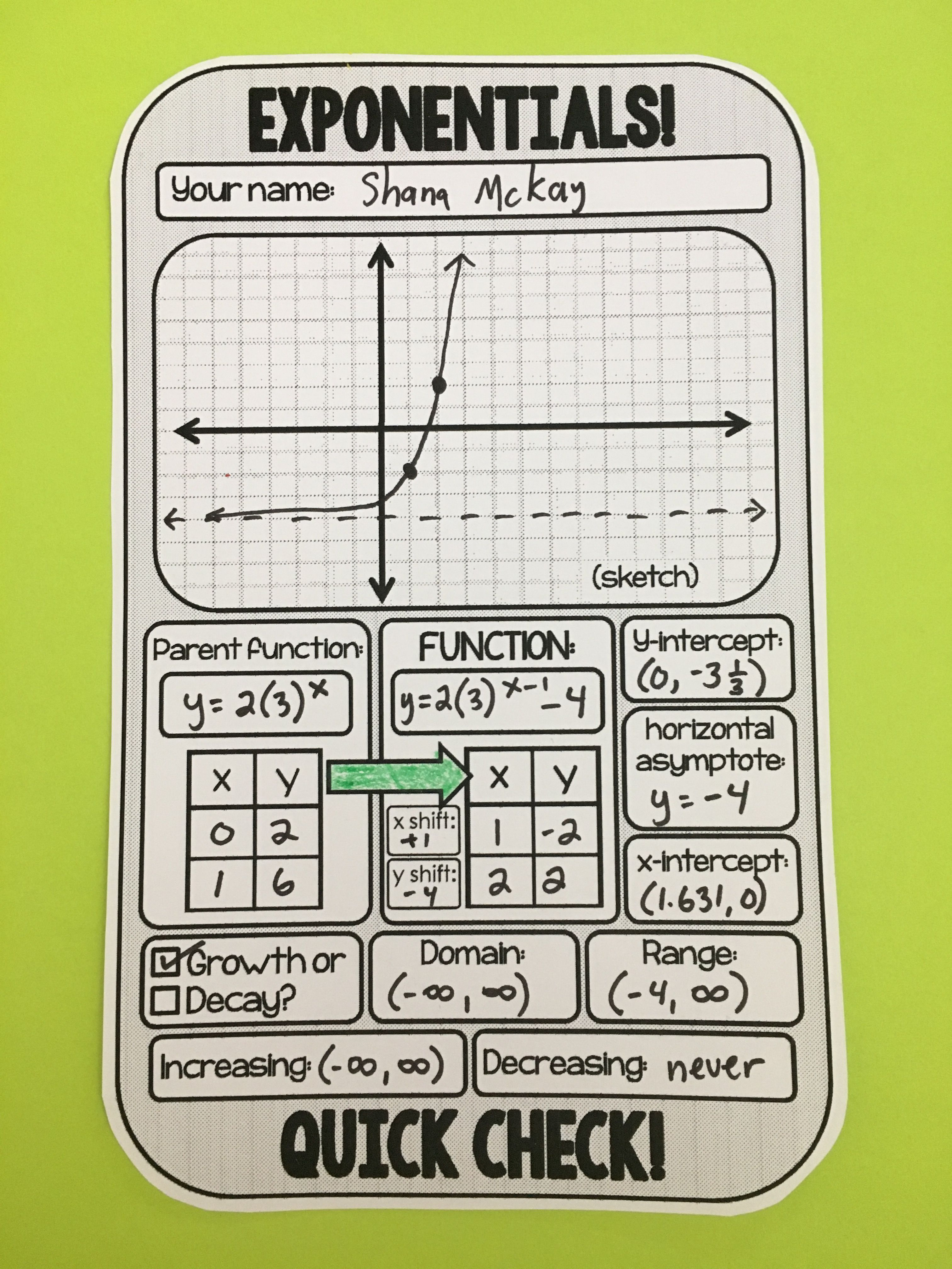 Exponential functions quick check and warmup template