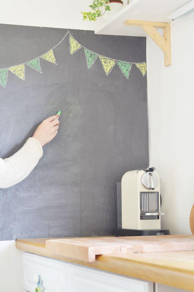 Wand mit Tafelfarbe streichen | Tafelfarbe, Wände und Hobbyraum