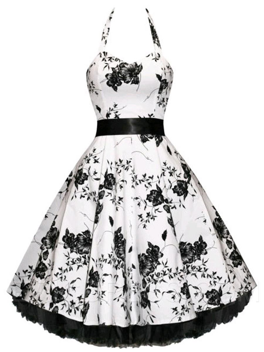 Floral print halter patchwork swing casual dress fashion