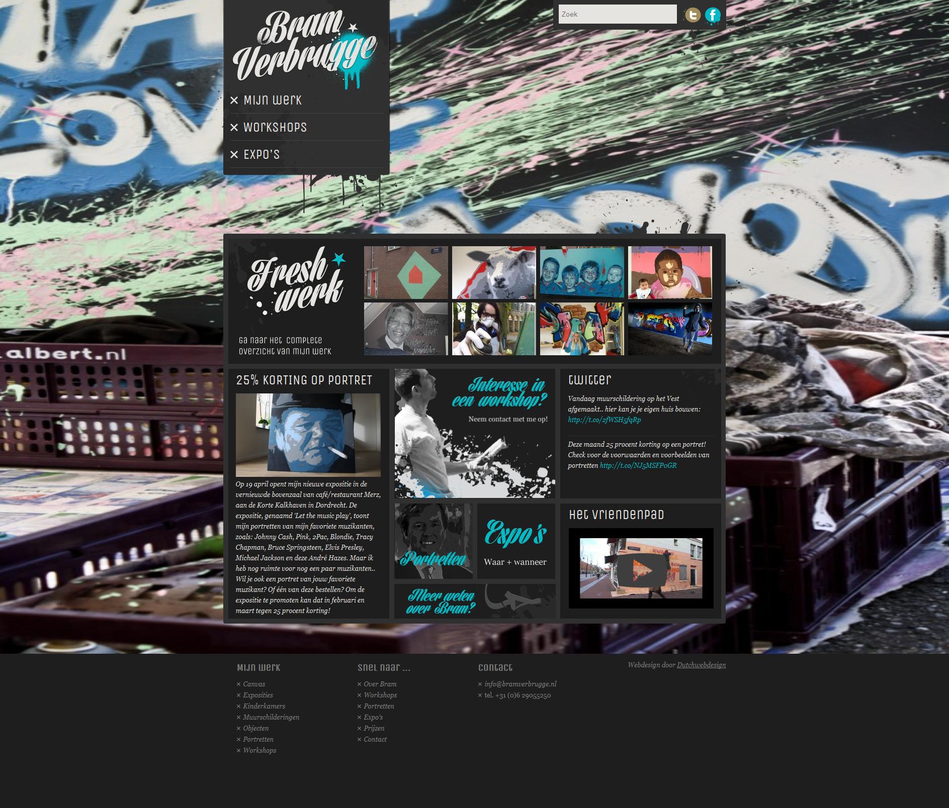 Dutchwebdesign heeft enkele jaren terug de eerste website van Bramverbrugge ontwikkeld en dit keer de nieuwe website, volledig maatwerk, alle informatie die Bram wilt tonen staat erop, zijn werk, exposities en andere actualiteiten. De portfolio pagina's hebben verschillende layouts zodat Bram zelf kan bepalen in welke stijl een werk getoond wordt, http://www.bramverbrugge.nl/