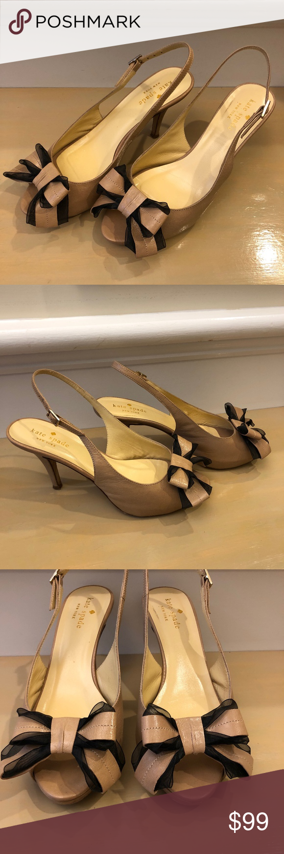 Kate Spade Tan Accent Bow Toe Kitten Heel Pumps 6b Kitten Heel Pumps Kitten Heels Heels