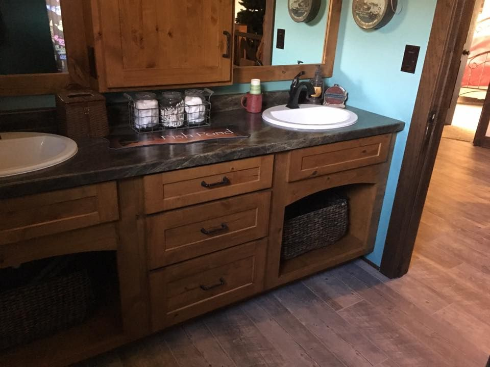 Rustic Alder Cabinets With Slate Sequoia Formica Top By