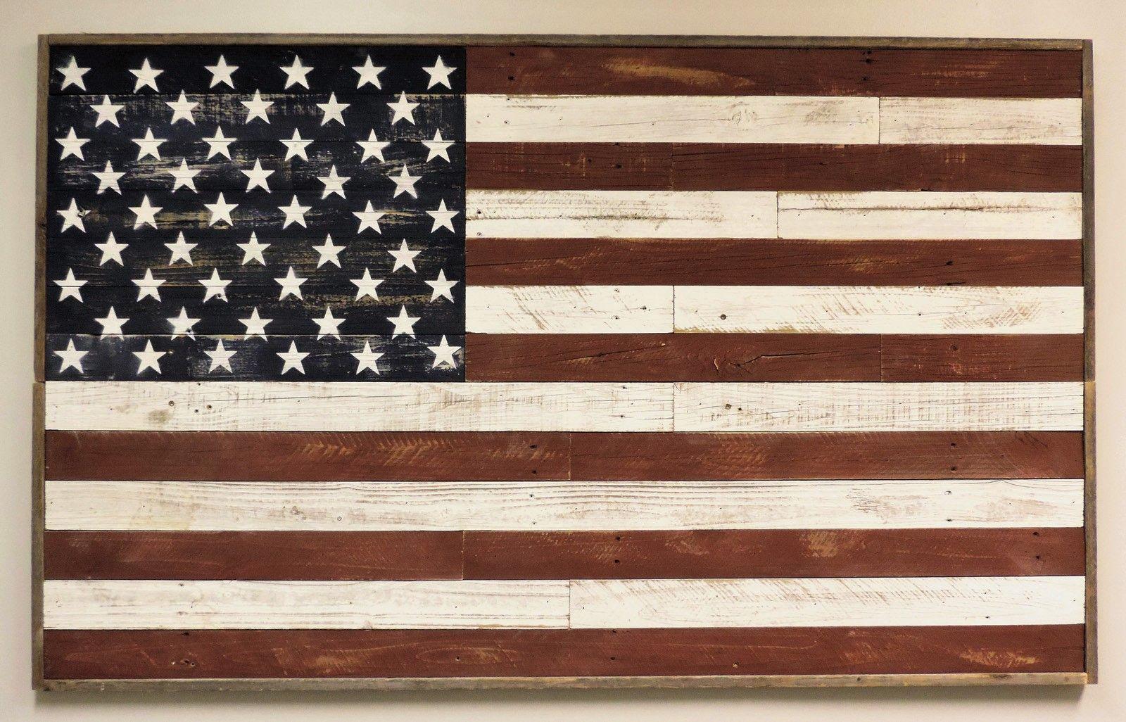 Full Size Barnwood American Flag Wall Art 3 X 5 Rustic Etsy American Flag Wall Art American Flag Wood Reclaimed Barn Wood