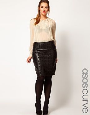 a86ae5e4c Image 1 of ASOS CURVE Pencil Skirt In Leather Look With Cutwork Detail