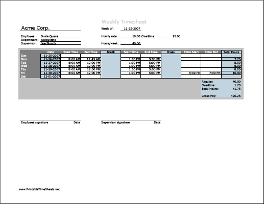 Weekly Timesheet Horizontal Orientation With Overtime