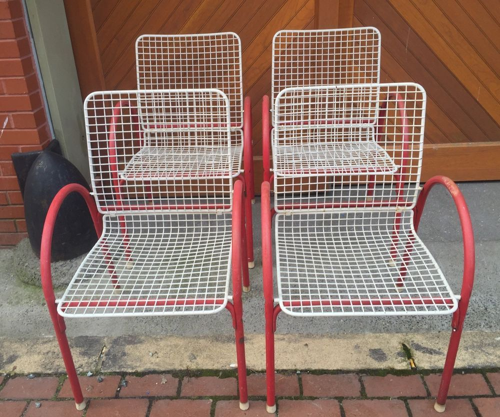 Vintage mid century modern metal folding wire mesh patio chairs - 4 Emu Italy Red White Wire Chairs By Jean Marie Massaud Mid Century Modern Mcm