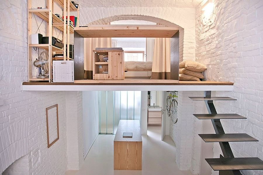 In 2013 The Designers At In Turin, Italy Were Hired To Help Turn This Shop  Into A Beautiful Tiny Loft Apartment For A Young Professional Who Wanted A  Simple ...