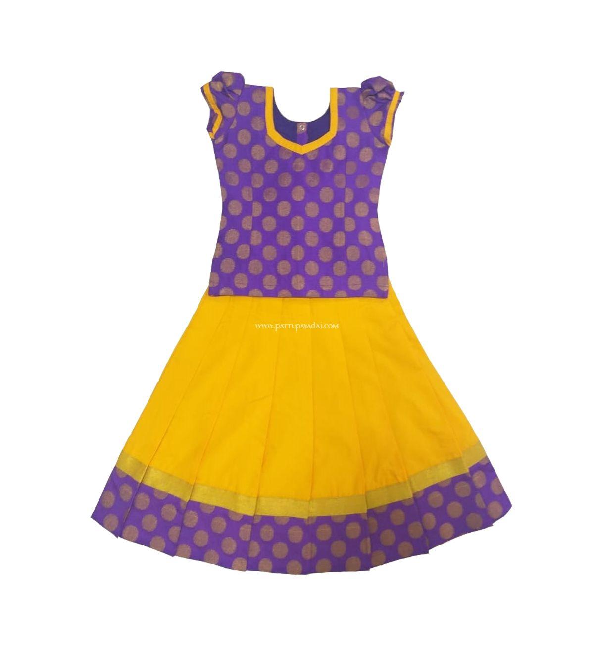 Pattu Pavadai Baby Girls Raw Silk Brocade Top and Skirt Purple /& Yellow
