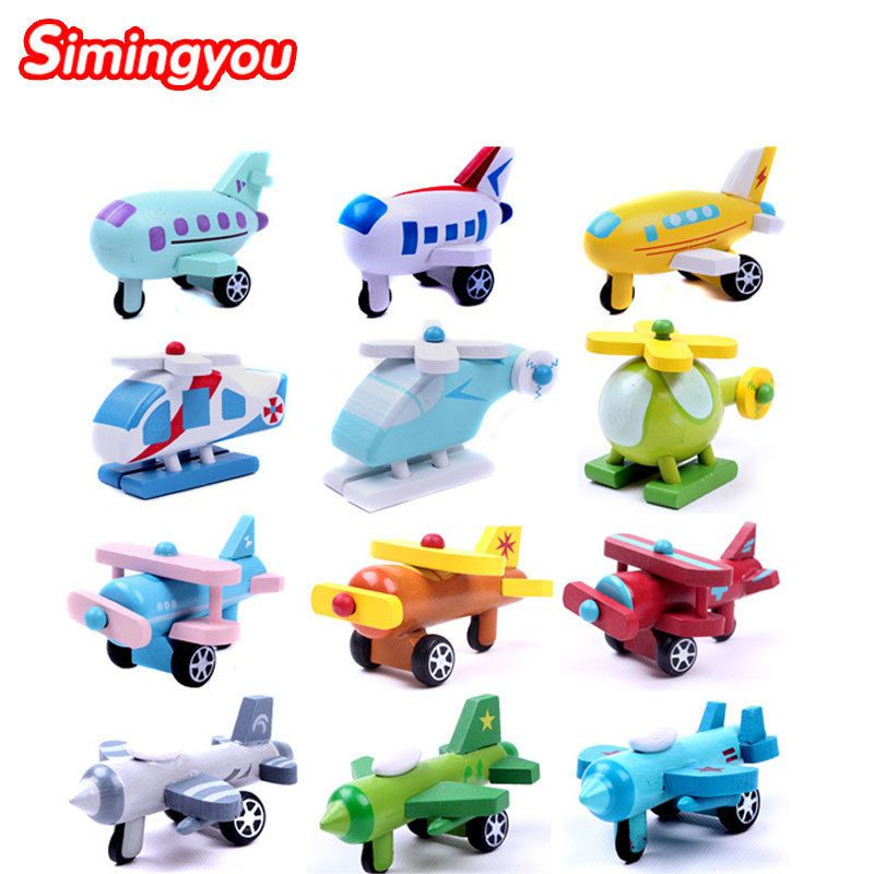 Simingyou Wooden Movable Small Aircraft Children Toys 12