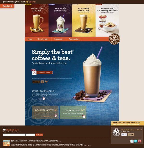 The Coffee Bean Tea Leaf Texas Website By Jennifer Springman Via Behance Interactive Web Design Web App Design Web Design