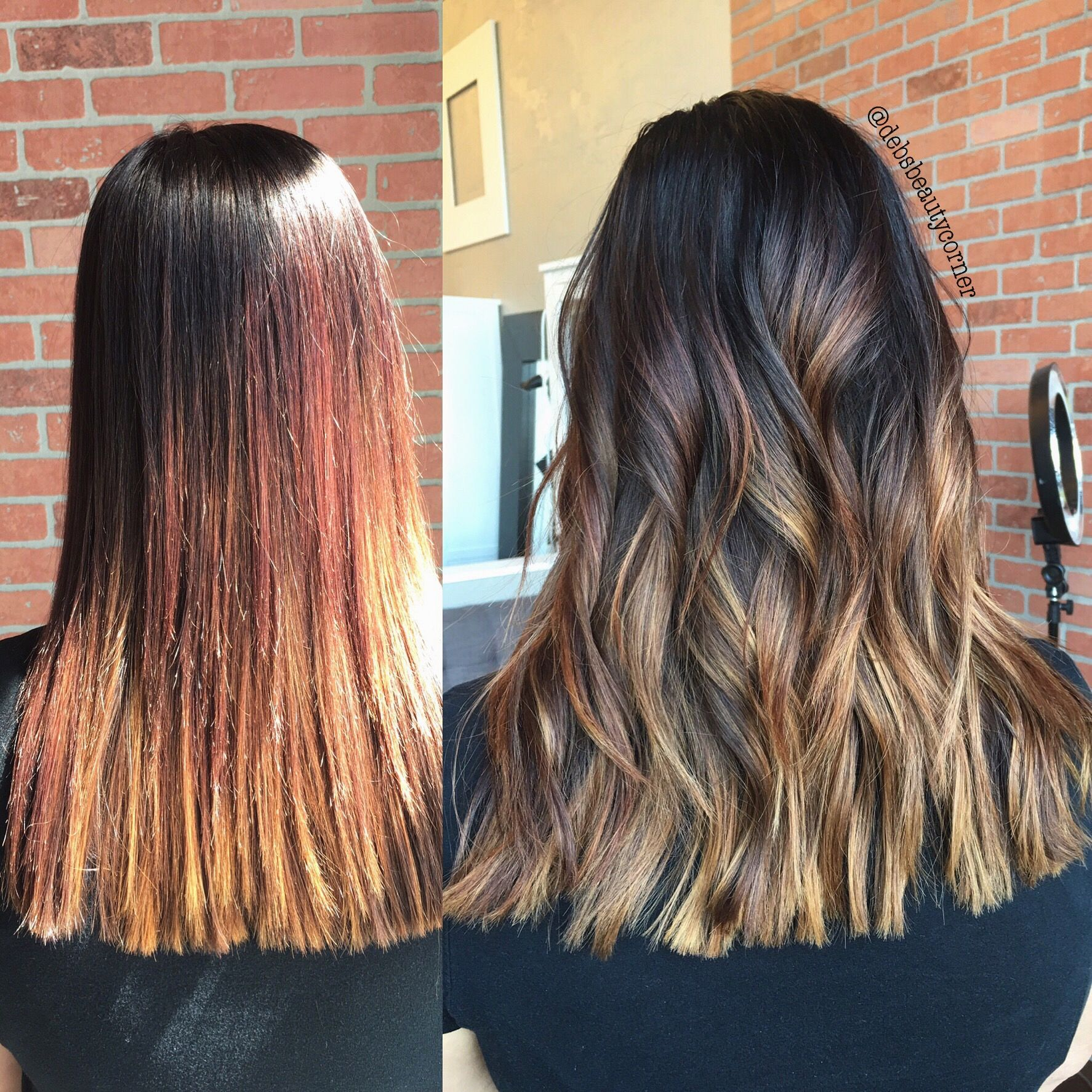 Hair coloring · Balayage transformation before and after