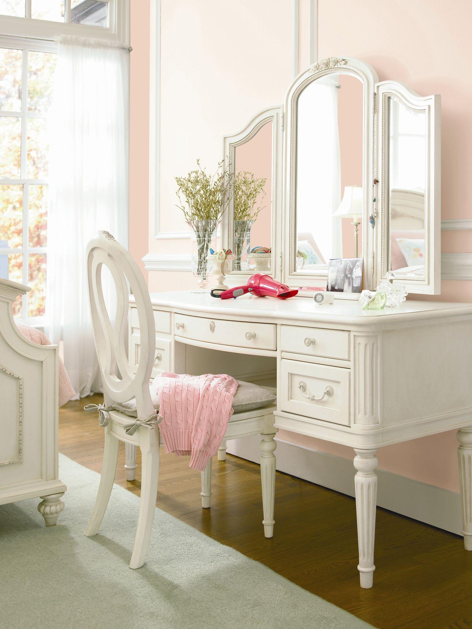 Smartstuff furniture gabriella vanity desk with dressing mirror