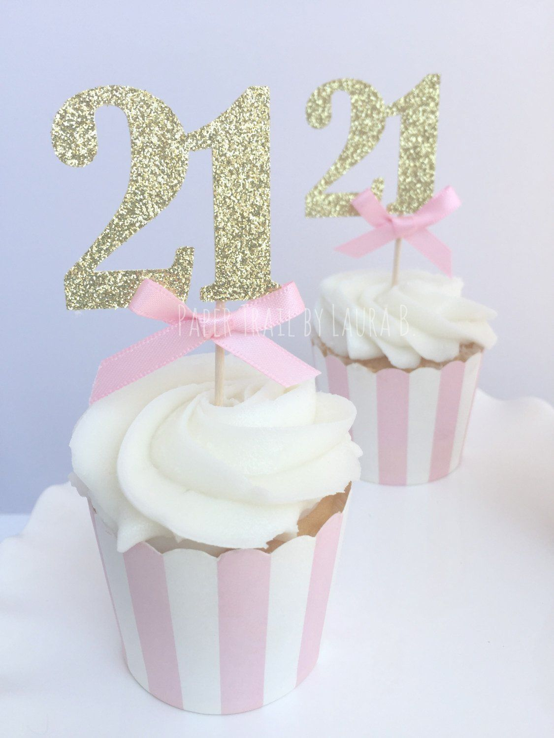 Pink Gold Glitter Number Cupcake Toppers 21st