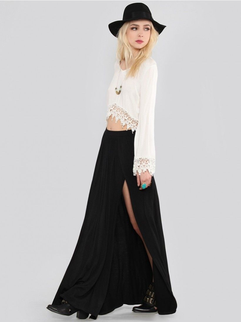 GYPSY WARRIOR Flowy maxi skirt featuring two full-length slits at ...