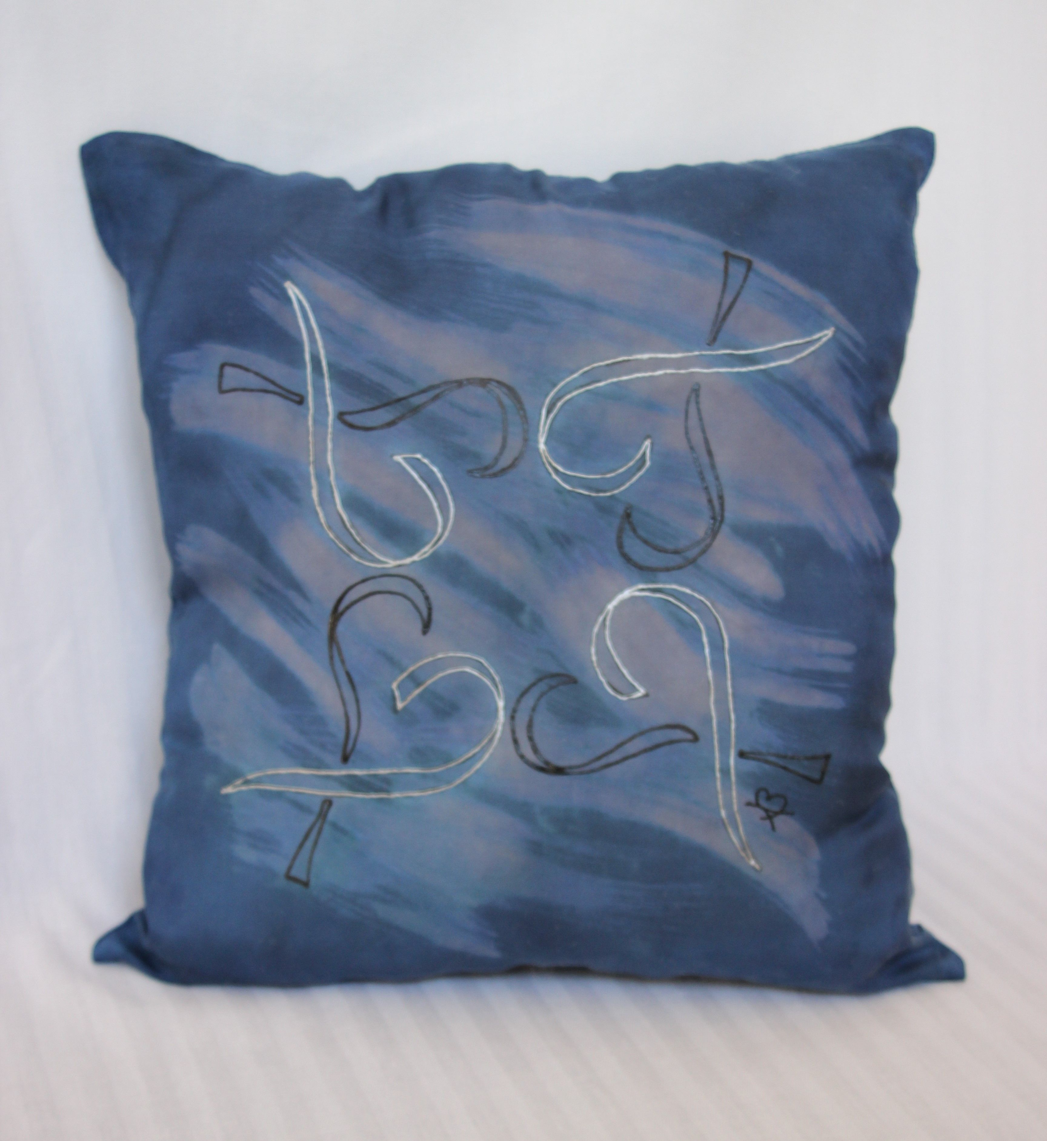 Handpainted decorative silk pillow cover with a heart and cancer