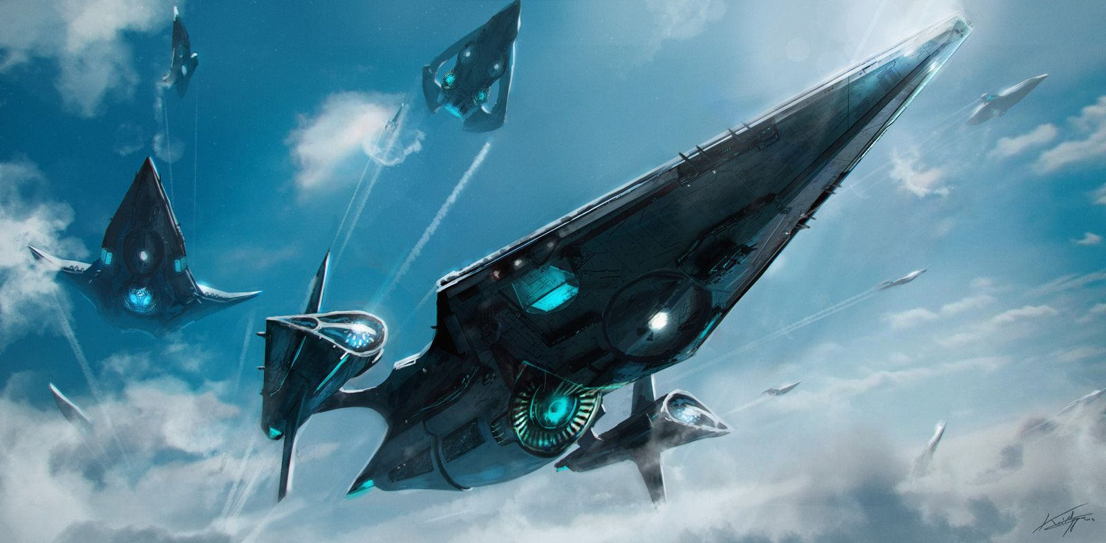 concept ships: Spaceships by Thibault Girard