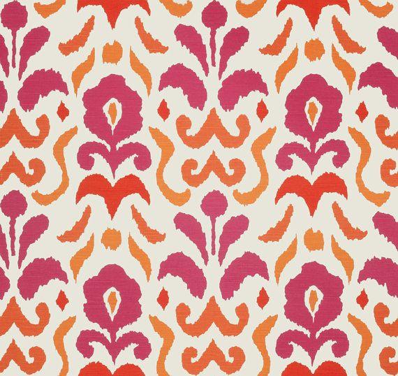 Hot Pink Fabric Orange Pink Curtain Ikat By Popdecorfabrics Ikat