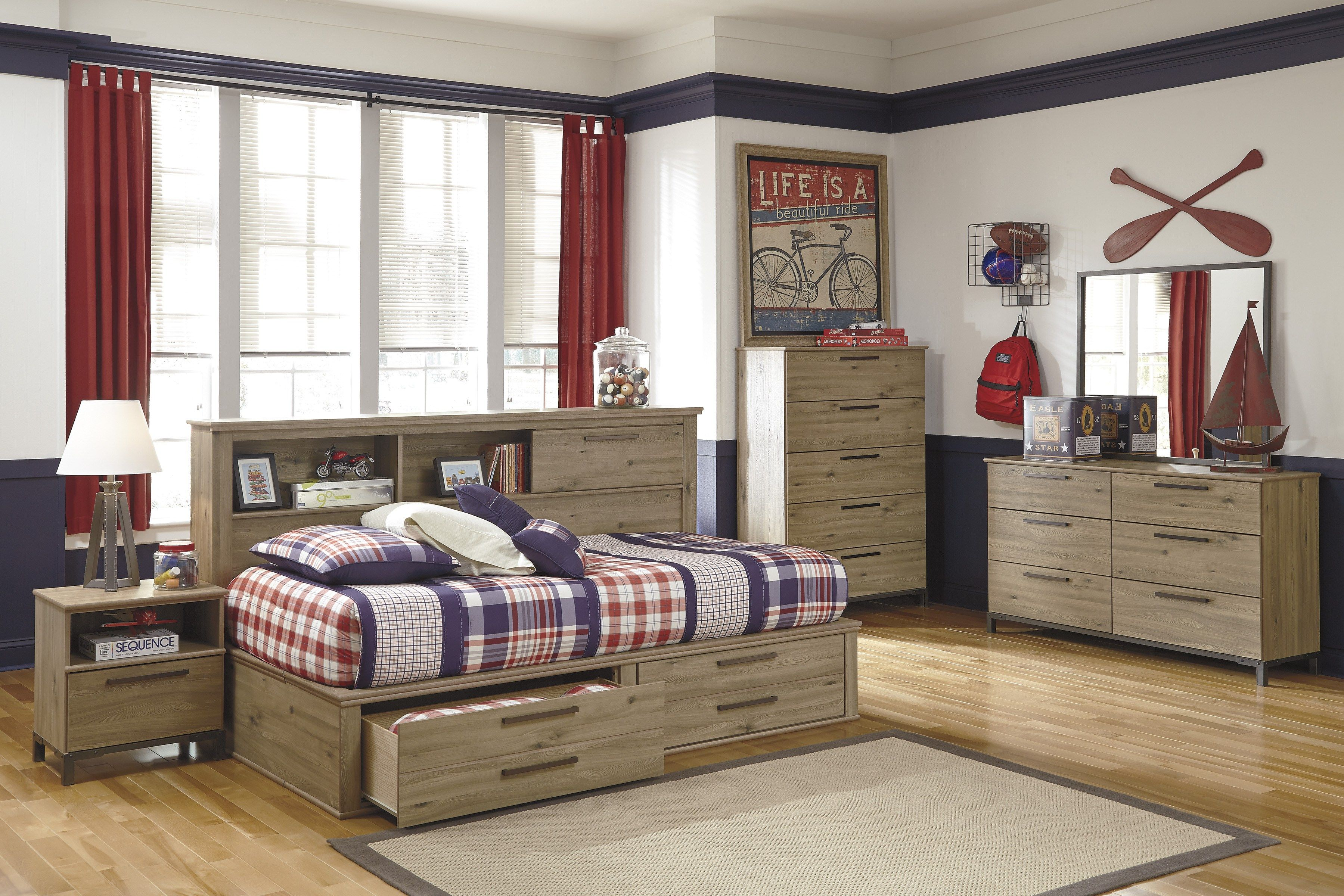 Boy's Bedroom with Storage Bookcase bed, Bed frame