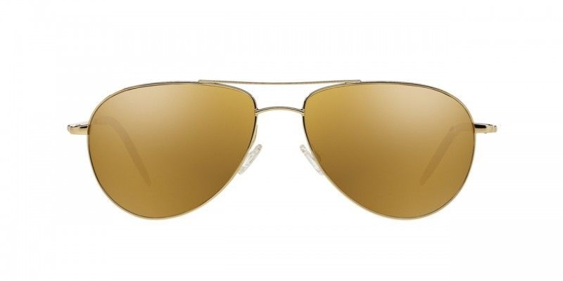 $435 New Authentic Unisex OLIVER PEOPLES Benedict Aviator Sunglasses Gold Mirror