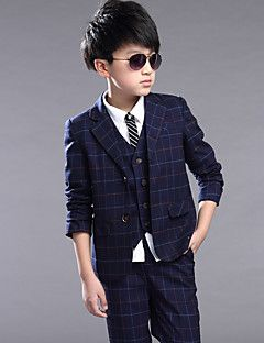 Kids Baby Boy Clothes Formal Wedding Suit Plaid Jackets Pants Set Children  Costume Boys Clothing 8f61f06f49b6