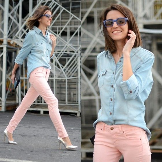 """pastel jeans + denim shirt"" by Alexandra Per on LOOKBOOK.nu"