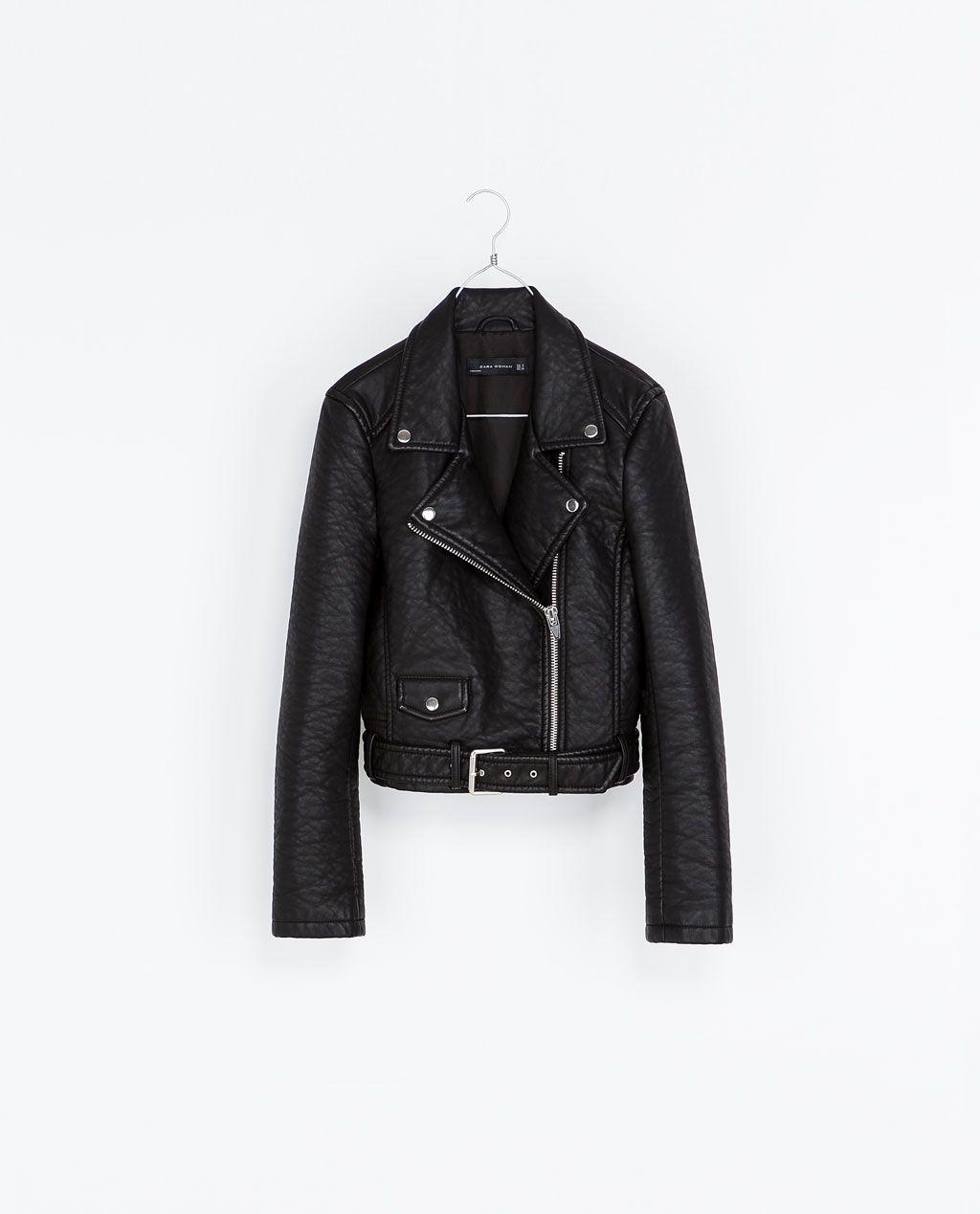 Faux Leather Biker Jacket From Zara Faux Leather Biker Jacket Biker Jacket Pleather Jacket [ 1269 x 1024 Pixel ]