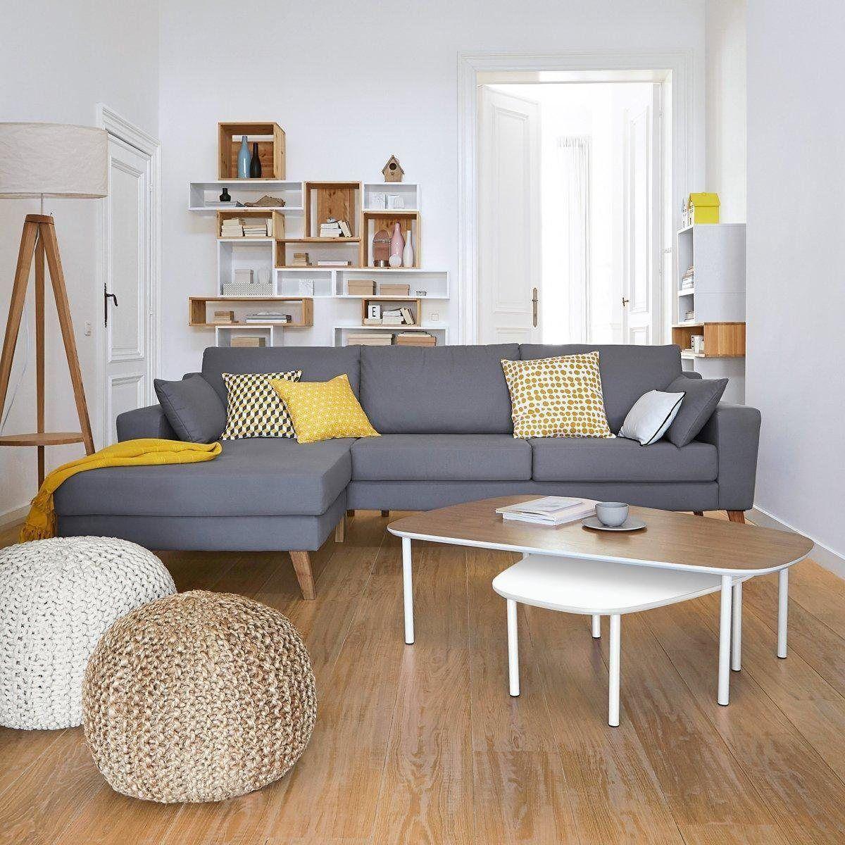 Salon Scandinave Blanc Gris Jaune Bois Parquet Textile Budget
