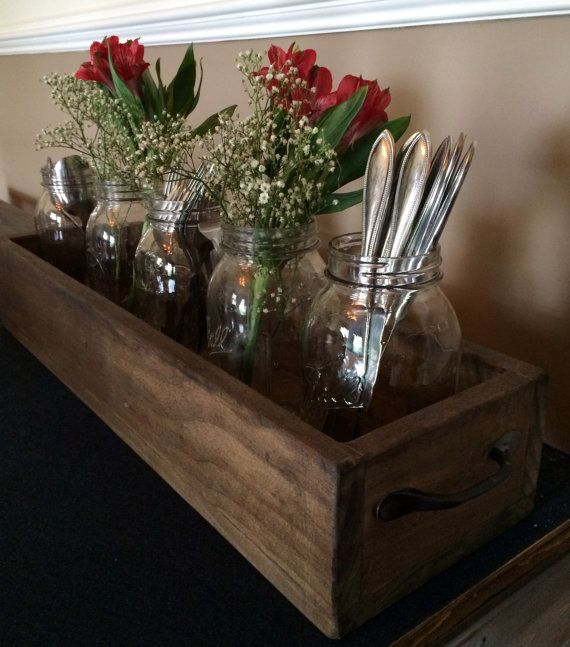 Rustic Wood Planter Centerpiece by MSquaredWoodDecor on Etsy
