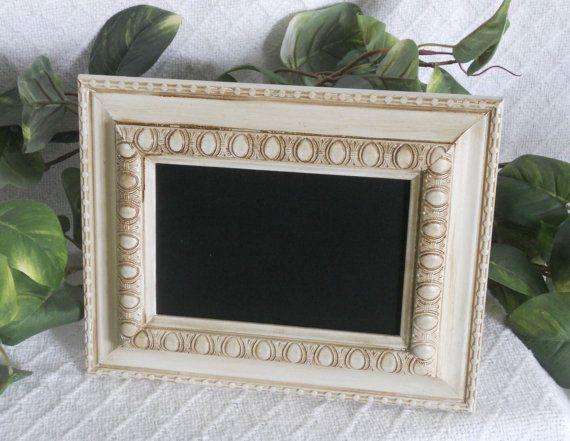 Small ornate white framed chalkboard, chalk board, photo prop ...