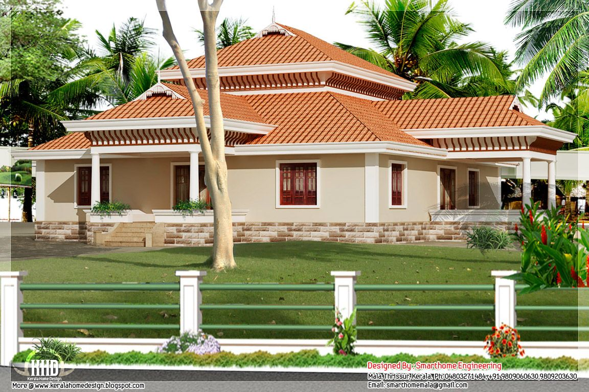 Designs of single story homes bedroom kerala style for Three bedroom house plans kerala style
