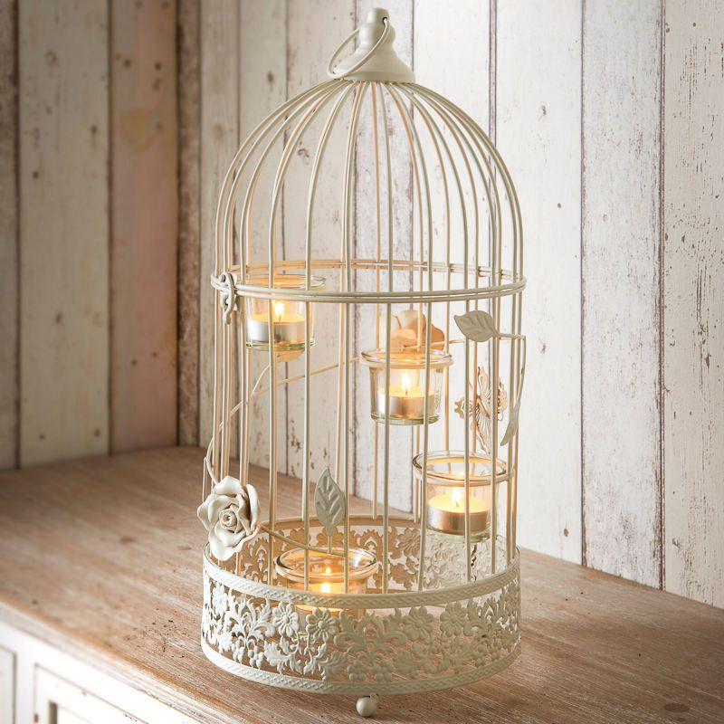 Vintage Black White Bird Cage Tea Light Candle Holder Wedding Decor Xmas Gifts