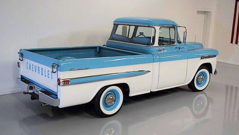 1959 Apache Truck Fleetside Double Deluxe Two Tone Light Blue And Bombay Ivory Factory V8 Mild Res Chevy Trucks Older Chevy Trucks Classic Chevy Trucks