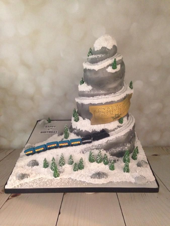Polar Express Train Birthday Cake
