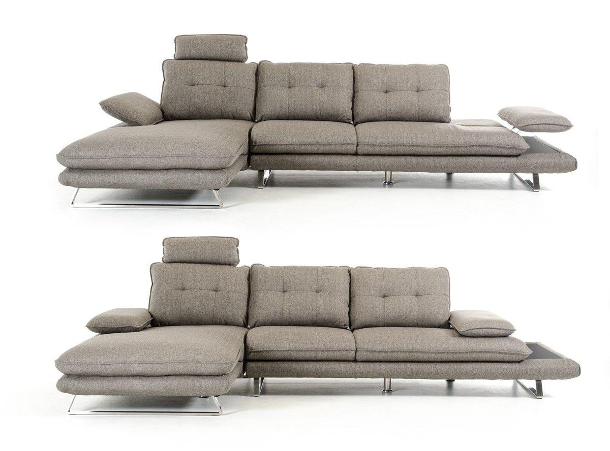 Divani Casa Porter Modern Grey Fabric Sectional Sofa