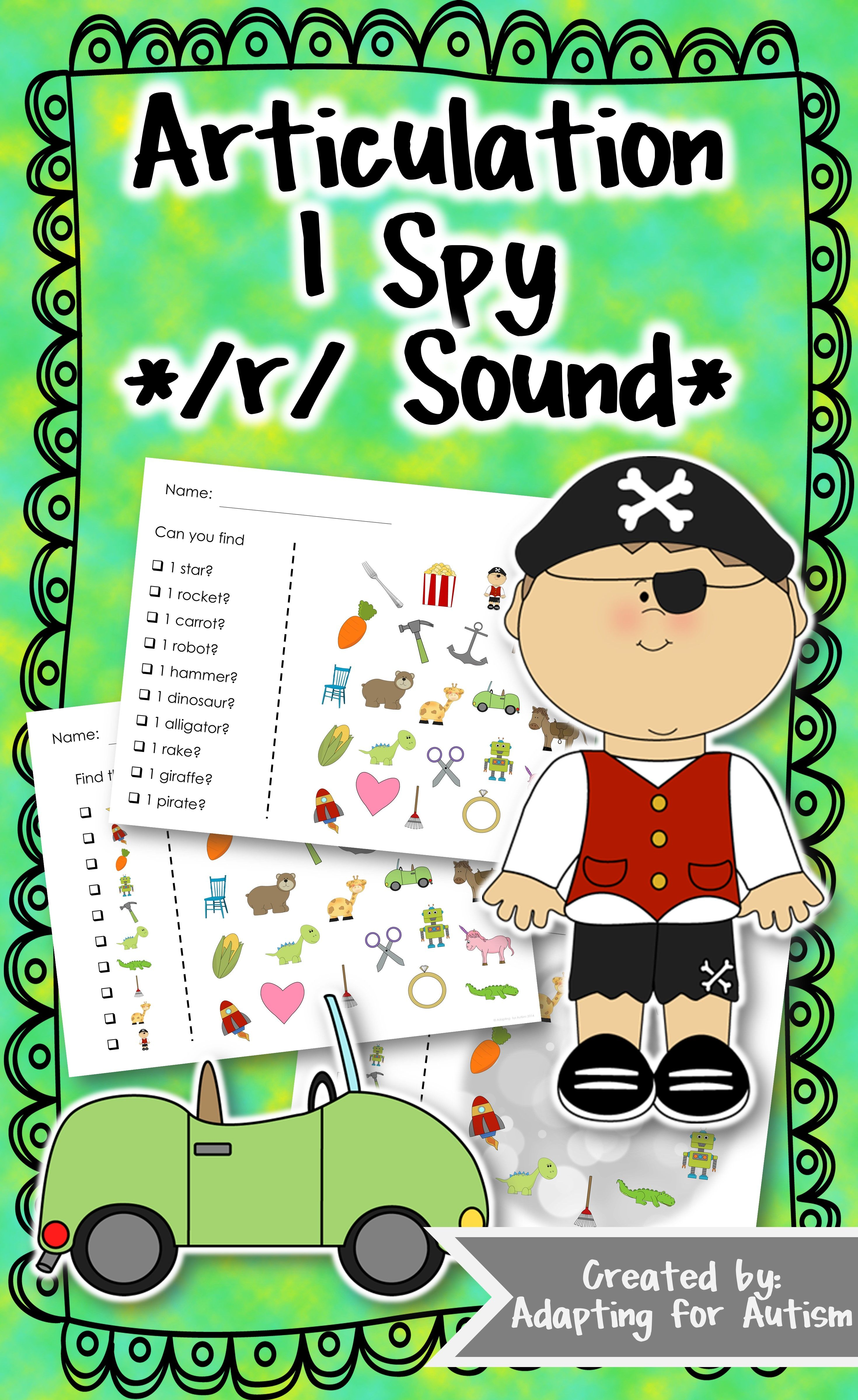 Articulation Activity R Find It Speech Therapy Game