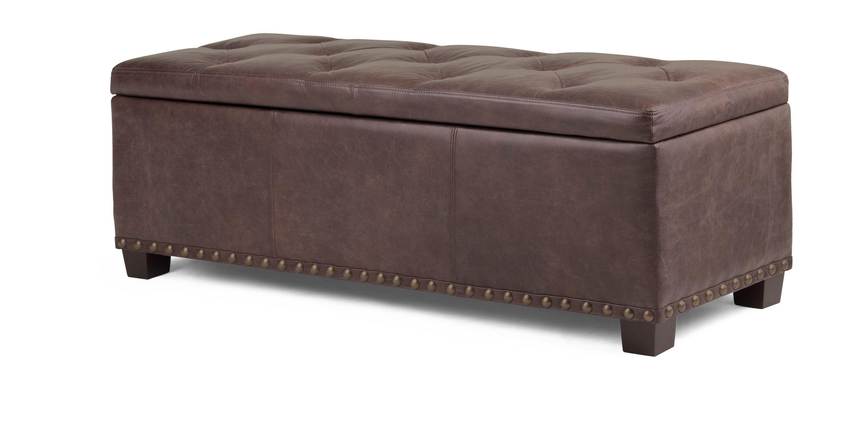 jeffrey gepolsterte sitzbank mit stauraum in sattelbraunem premium leder flat furnishing